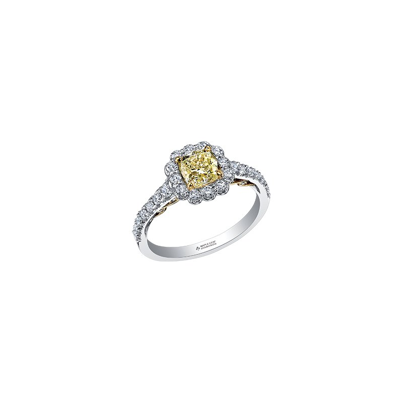 Maple Leaf Diamonds Tides of Love Cushion Halo Engagement Ring with a Yellow Diamond