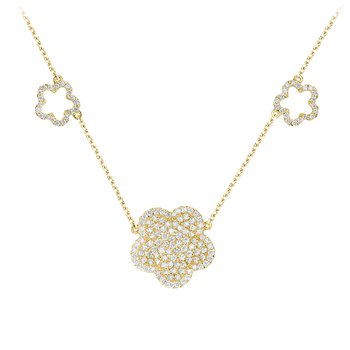Pave Diamond Flower Necklace