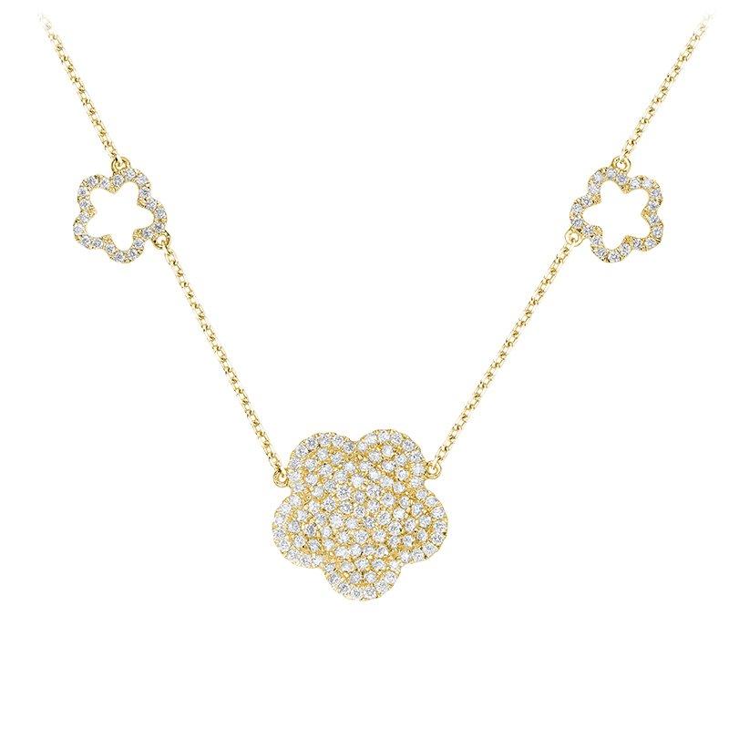 RnB Jewellery Pave Diamond Flower Necklace