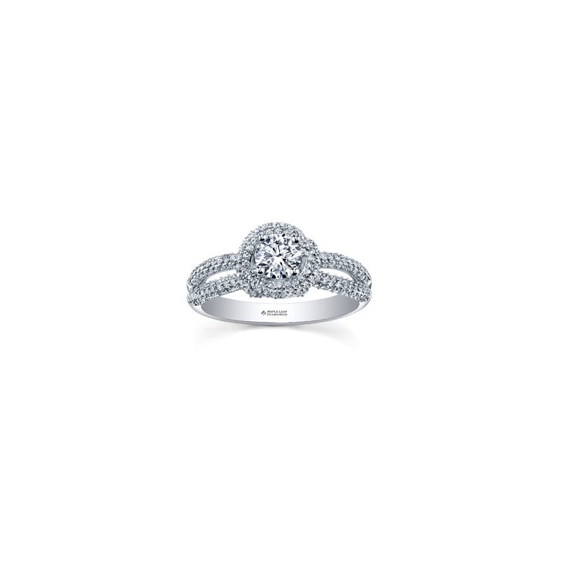 Maple Leaf Diamonds Wrapped Pave Halo Engagement Ring in White Gold