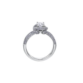Wrapped Pave Halo Engagement Ring in White Gold
