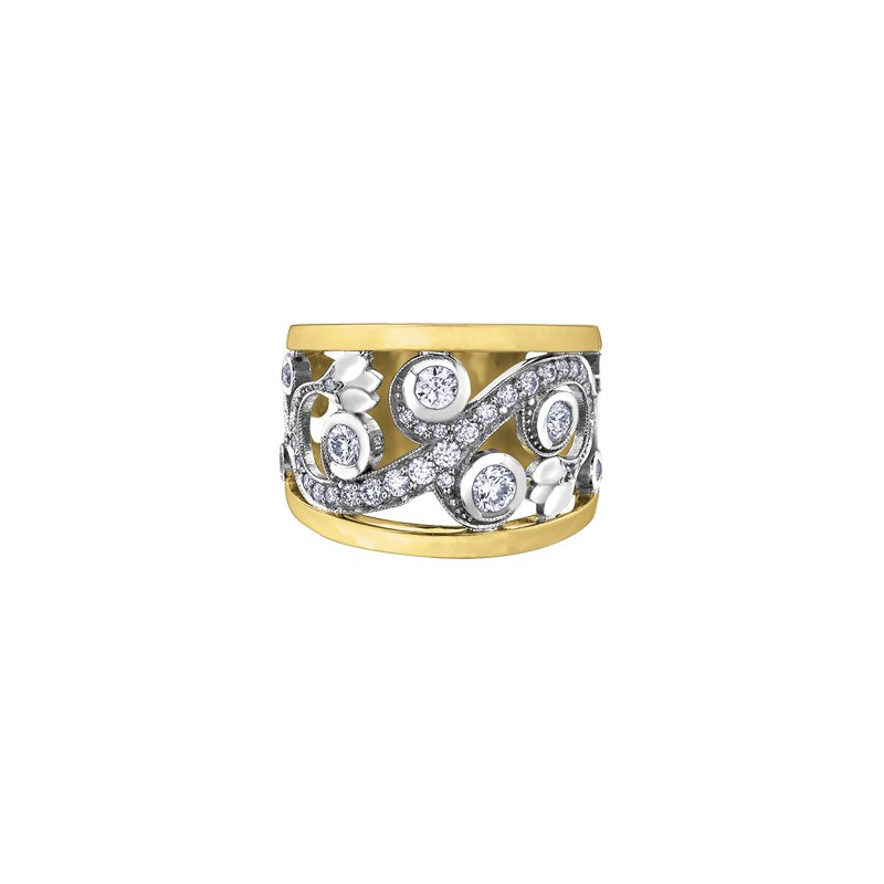 Maple Leaf Diamonds Summer Enchanted Garden Ring in Two Tone Gold