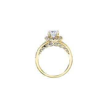 Tides of Love Halo Engagement Ring with Diamond Band in Yellow Gold