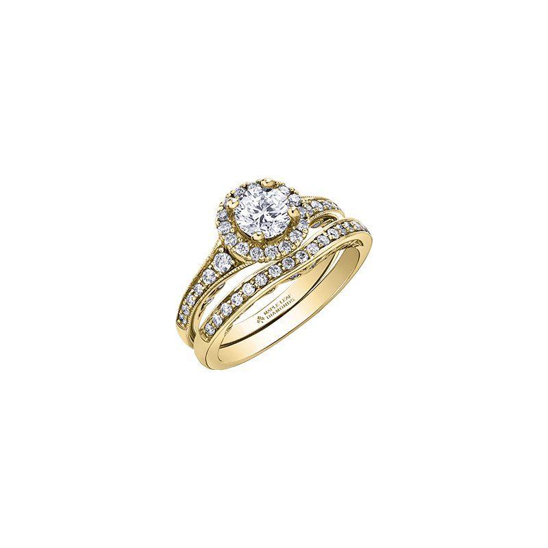 Maple Leaf Diamonds Tides of Love Halo Engagement Ring with Diamond Band in Yellow Gold