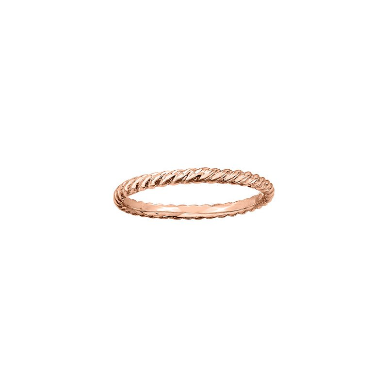 Maple Leaf Diamonds Twist Ring in Rose Gold