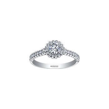 Eternal Flames Halo Engagement Ring in White Gold