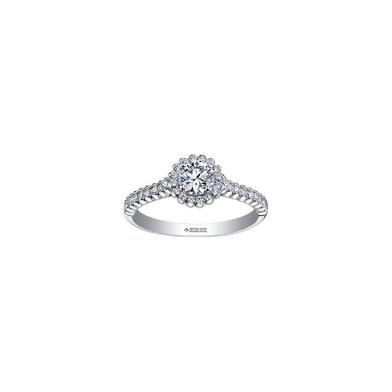 Maple Leaf Diamonds Eternal Flames Halo Engagement Ring in White Gold