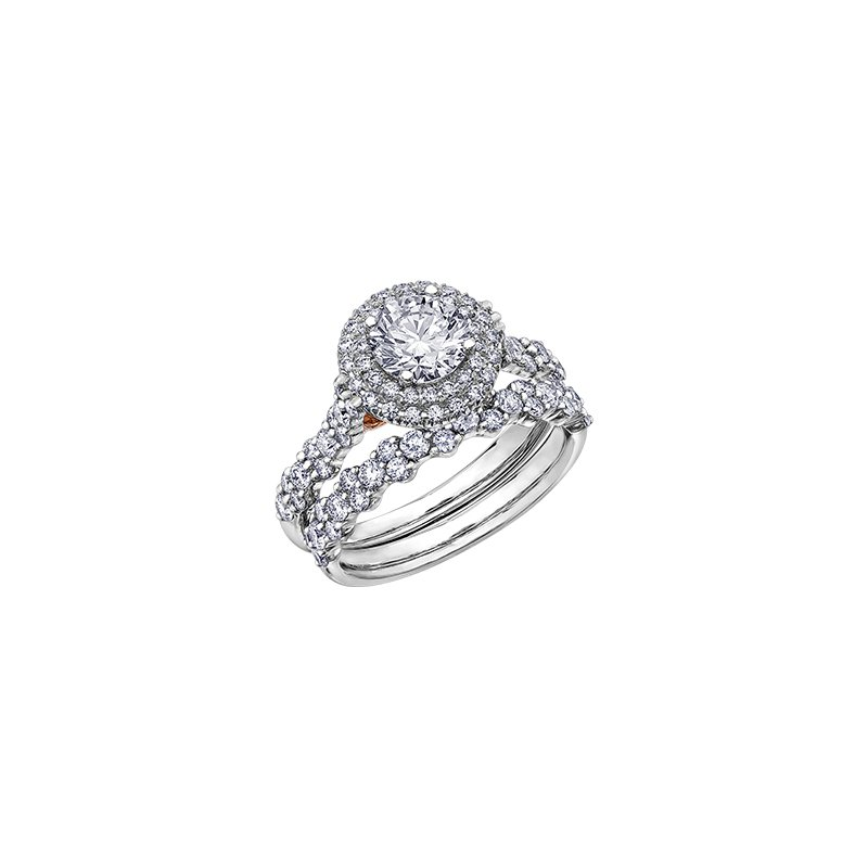 Maple Leaf Diamonds Eternal Flames Double Halo Engagement Ring