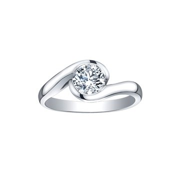 Bypass Solitaire Engagement Ring in White Gold
