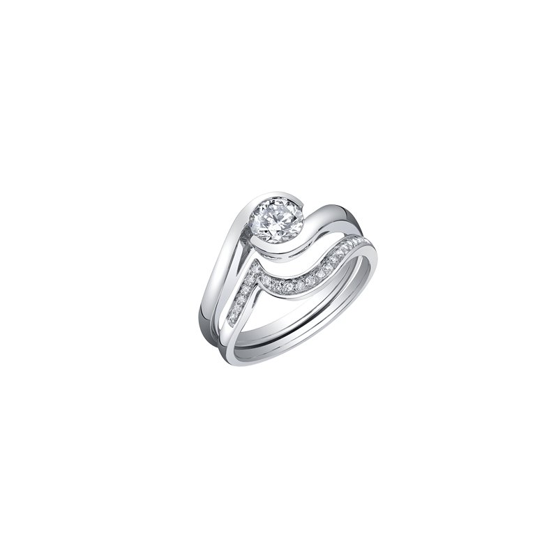 Maple Leaf Diamonds Bypass Solitaire Engagement Ring in White Gold