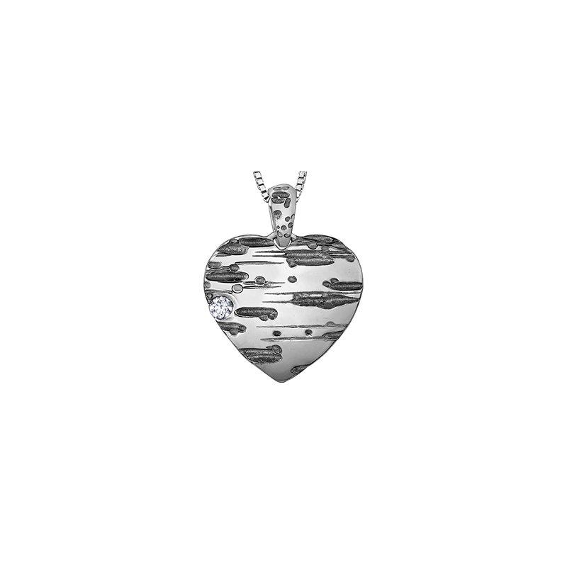 Maple Leaf Diamonds Spring Birch Bark Heart Solitaire Pendant