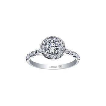 Spring Lily Halo Engagement Ring in White Gold