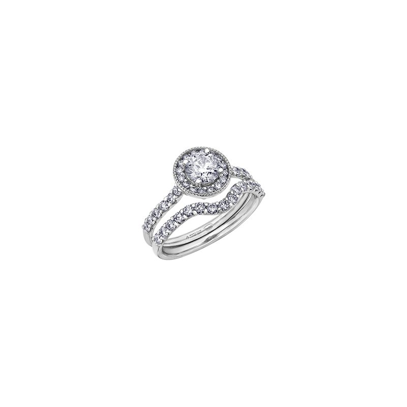 Maple Leaf Diamonds Spring Lily Halo Engagement Ring in White Gold