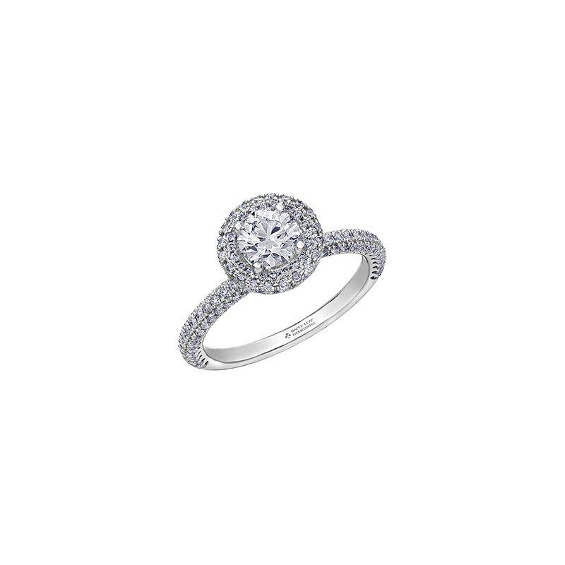 Maple Leaf Diamonds Pave Halo Engagement Ring