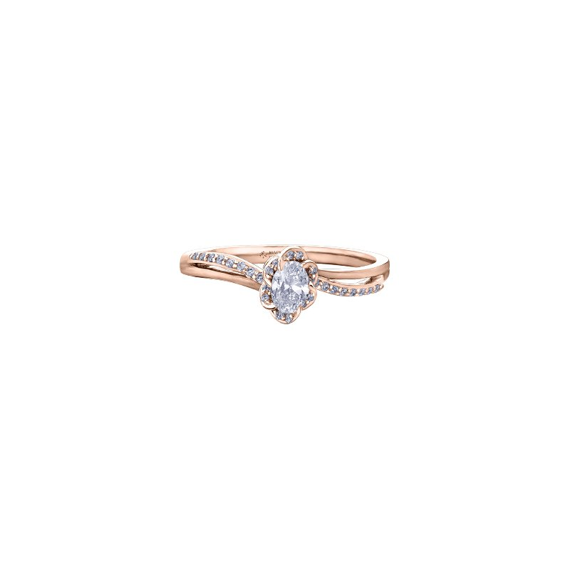 Maple Leaf Diamonds Wind's Embrace Diamond Wrap Oval Engagement Ring in Rose Gold