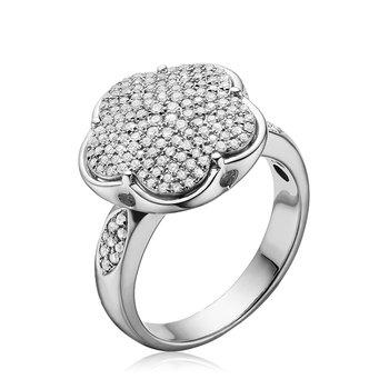 Large Pave Diamond Flower Ring