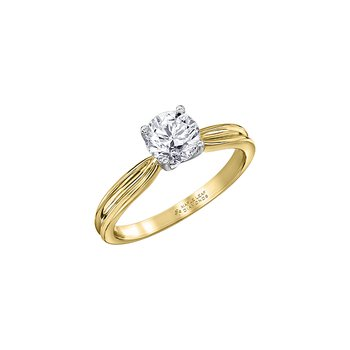Eternal Flames Split Band Solitaire Ring in Yellow Gold