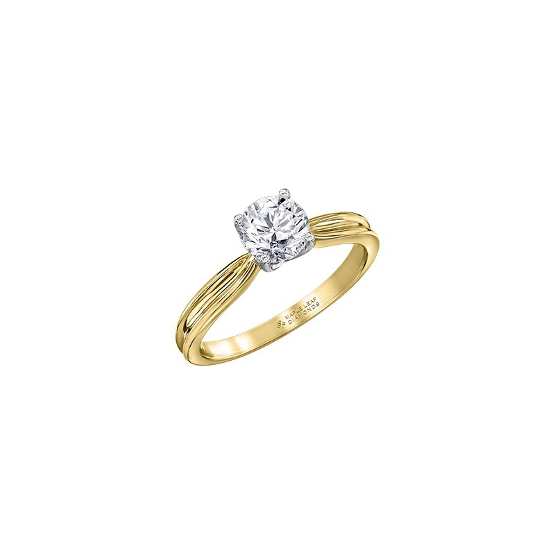 Maple Leaf Diamonds Eternal Flames Split Band Solitaire Ring in Yellow Gold