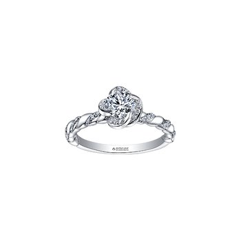 Wind's Embrace Diamond Twist Engagement Ring in White Gold