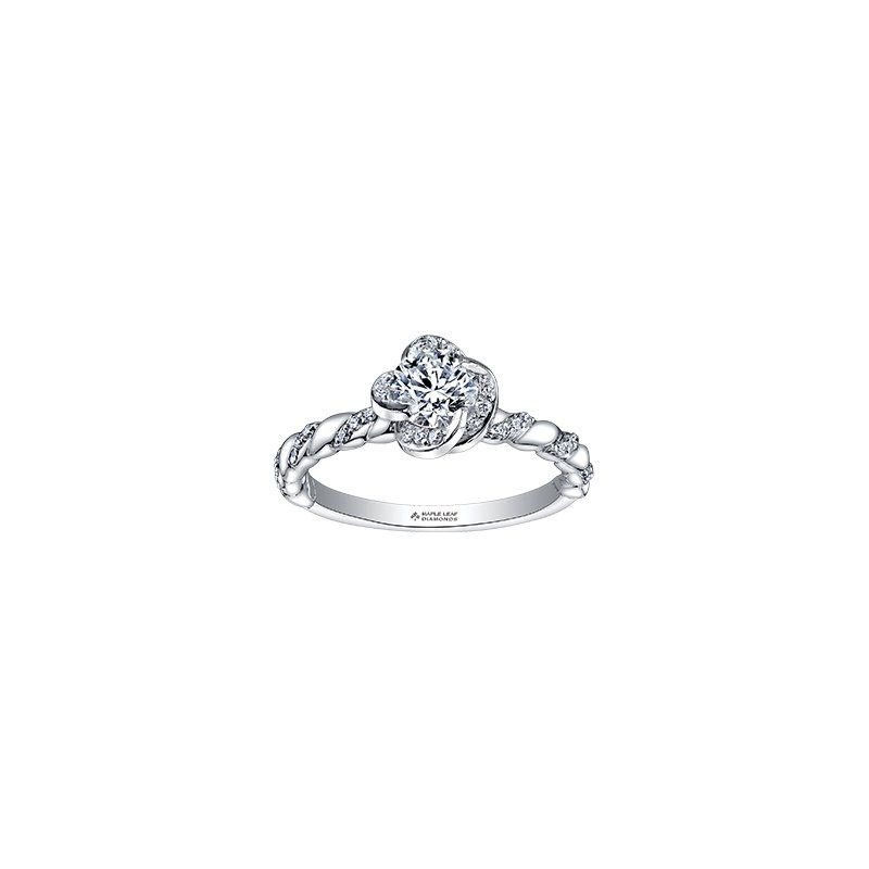 Maple Leaf Diamonds Wind's Embrace Diamond Twist Engagement Ring in White Gold