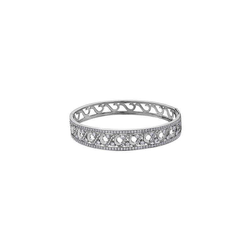 Maple Leaf Diamonds Tides of Love Wide Diamond Bracelet
