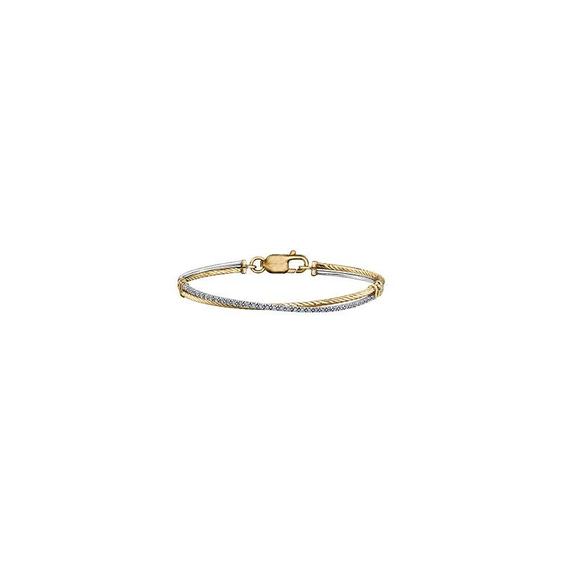 Maple Leaf Diamonds Two Tone Wrapped Diamond Bracelet