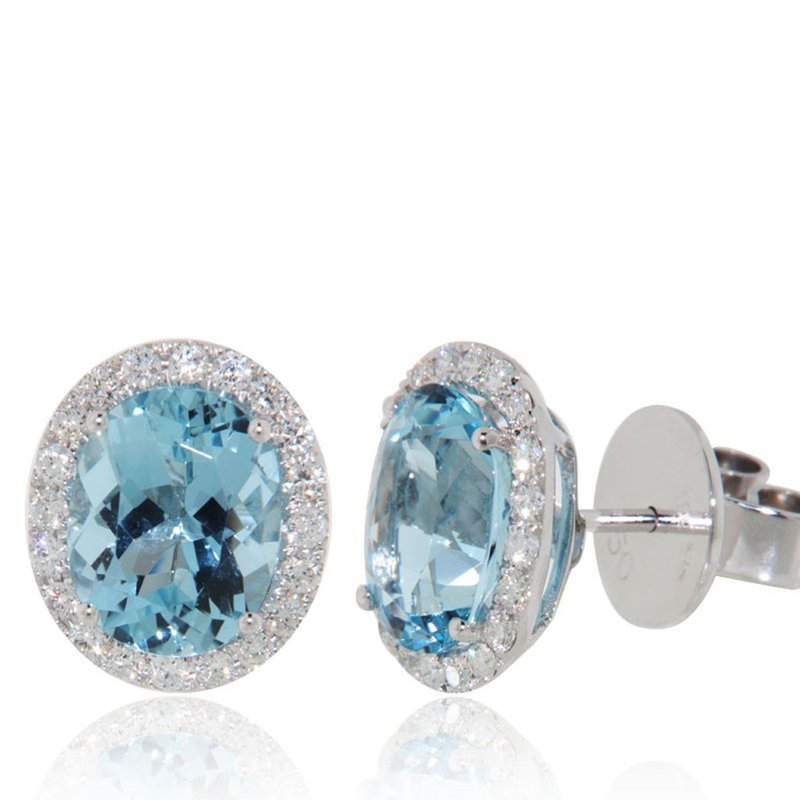 Davidson's Signature Aquamarine Oval Halo Stud Earrings