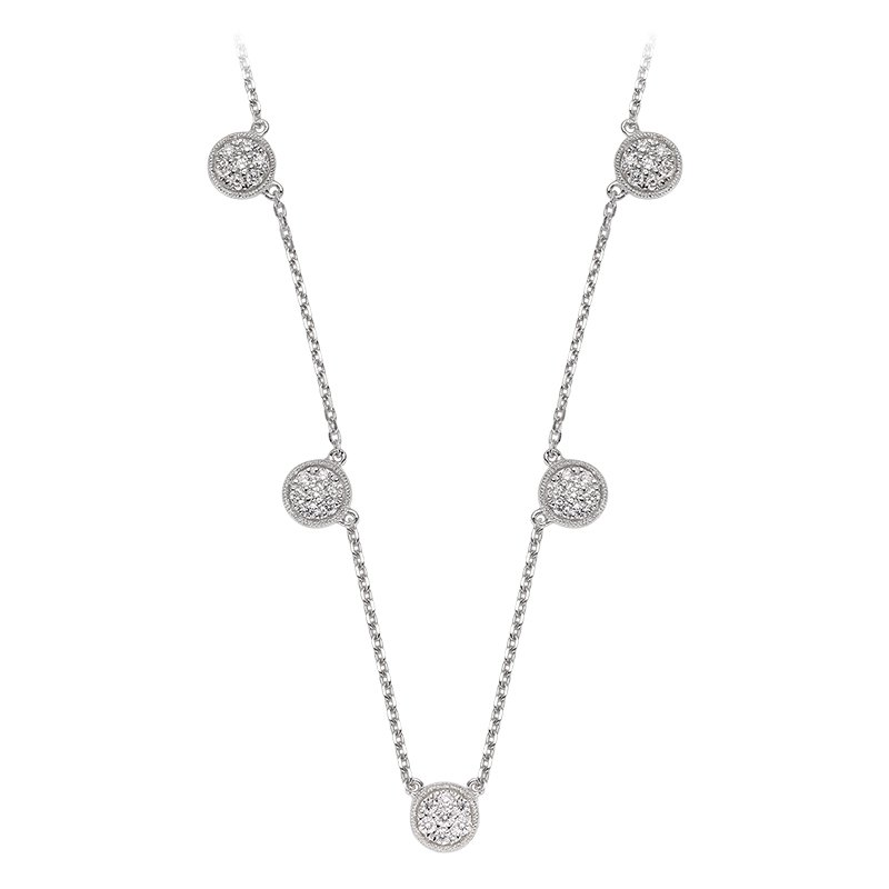 RnB Jewellery Diamond Pave Circle Station Necklace