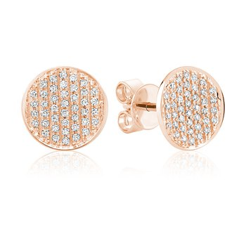 Pave Diamond Circle Stud Earrings