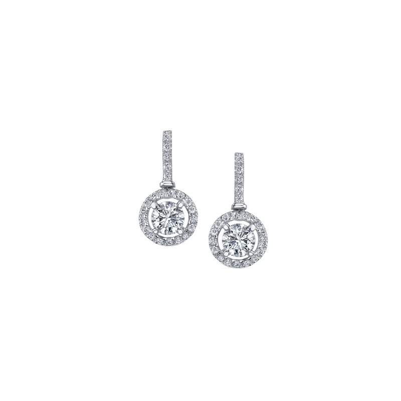 Maple Leaf Diamonds Diamond Halo Drop Earrings