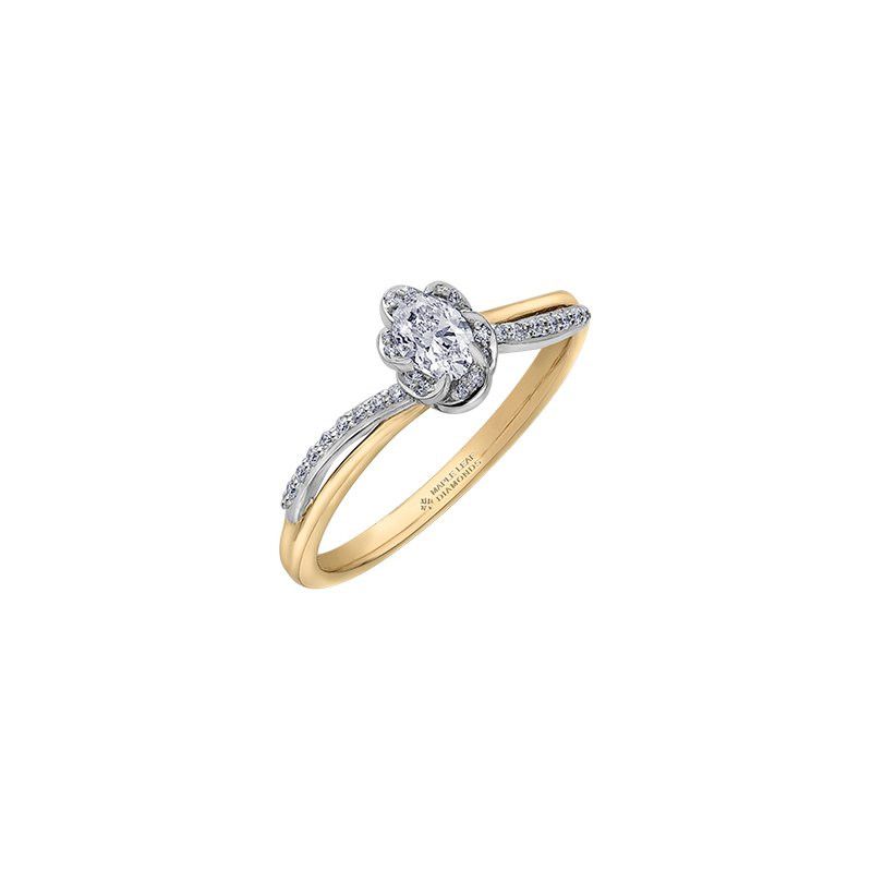 Maple Leaf Diamonds Wind's Embrace Diamond Wrap Oval Engagement Ring in Yellow Gold