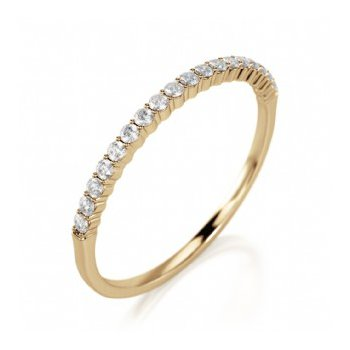 Half Way Diamond Set Shared Prong Band in Yellow Gold