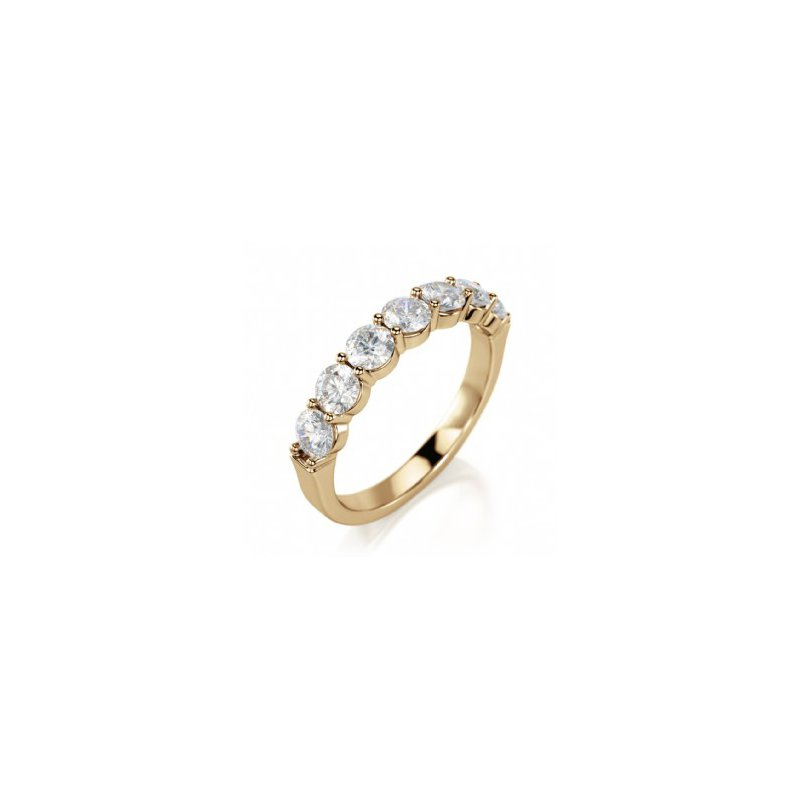 CrownRing Half Way Diamond Set Shared Prong Band in Yellow Gold
