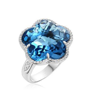 London Blue Topaz Flower Ring