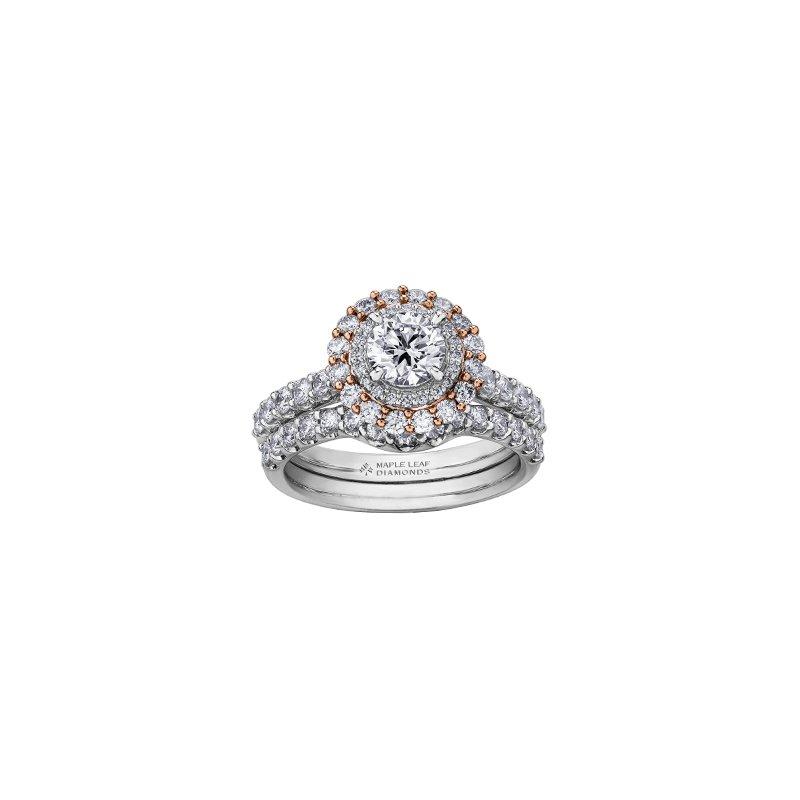 Maple Leaf Diamonds Spring Diamond Lily Petals Engagement Ring