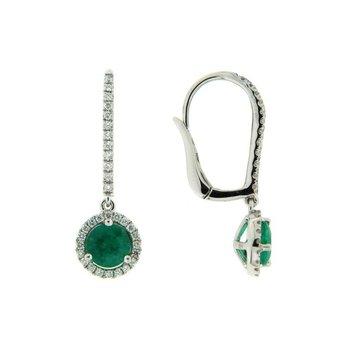 Emerald Halo Drop Earrings