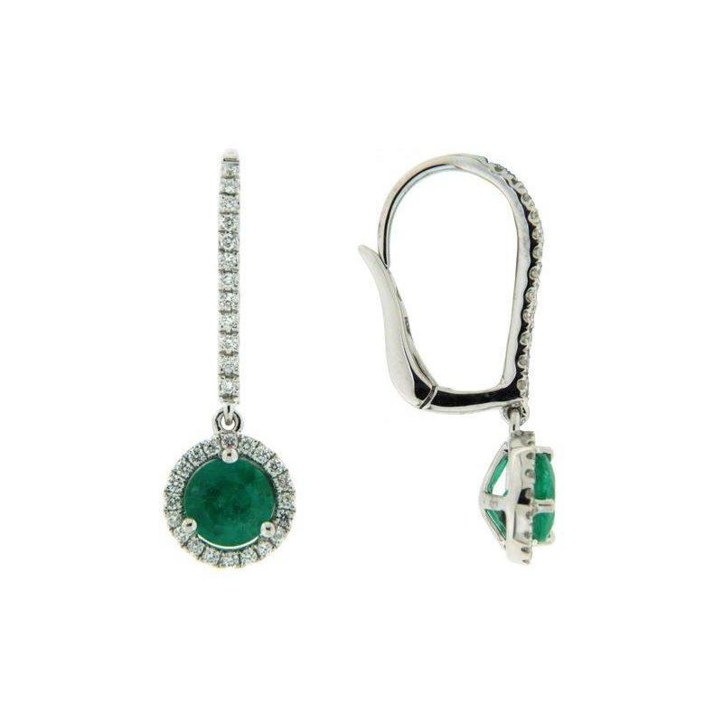 Davidson's Signature Emerald Halo Drop Earrings