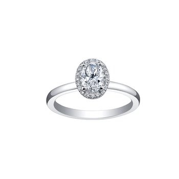 Simple Oval Halo Engagement Ring