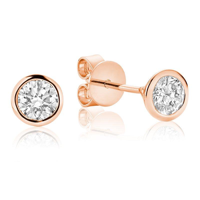 RnB Jewellery Bezel Set Diamond Solitaire Stud Earrings