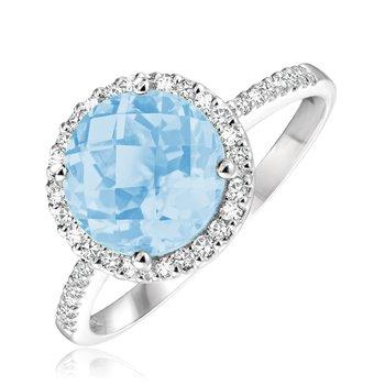 Round Gemstone Halo Ring