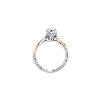 Twist Solitaire Engagement Ring in White and Rose Gold