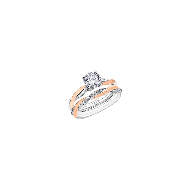 Maple Leaf Diamonds Twist Solitaire Engagement Ring in White and Rose Gold
