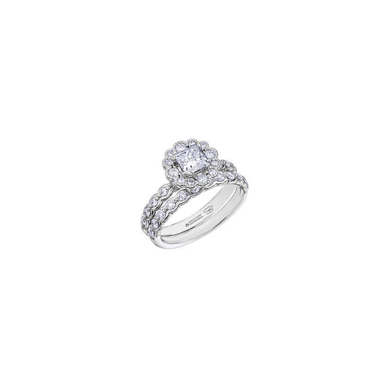 Maple Leaf Diamonds Winter Ice Princess Engagement Ring in White Gold