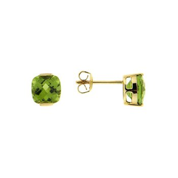 Cushion Peridot Stud Earrings