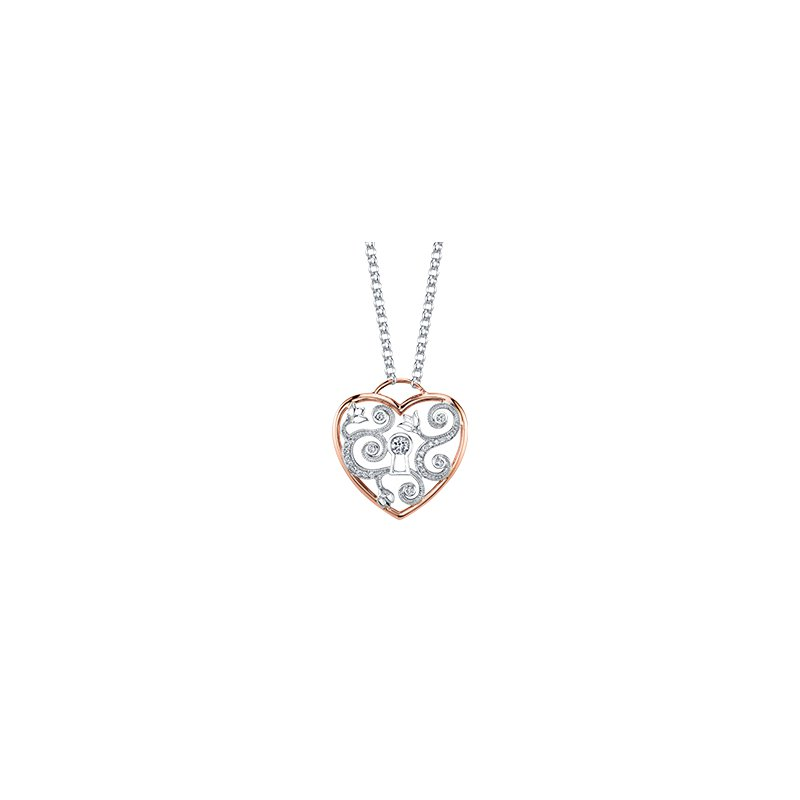 Maple Leaf Diamonds Summer Enchanted Garden Heart Pendant