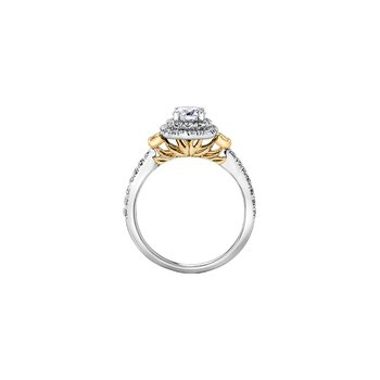Eternal Flames 3 Stone Halo Ring with Natural Yellow Diamonds