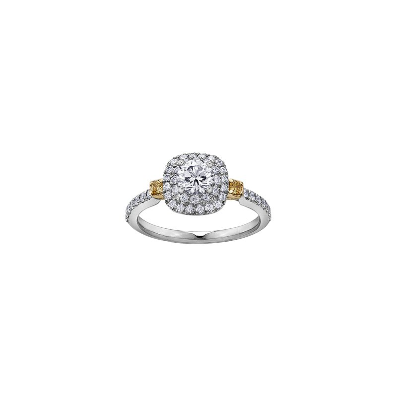 Maple Leaf Diamonds Eternal Flames 3 Stone Halo Ring with Natural Yellow Diamonds