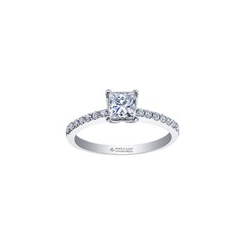 Eternal Flames Narrow Diamond Band Princess Engagement Ring in White Gold