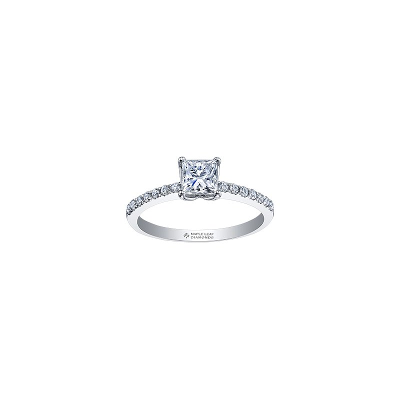 Maple Leaf Diamonds Eternal Flames Narrow Diamond Band Princess Engagement Ring in White Gold