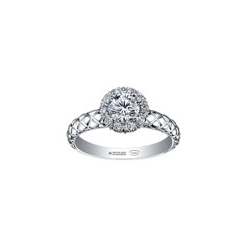 Winter Diamond Fur Halo Engagement Ring